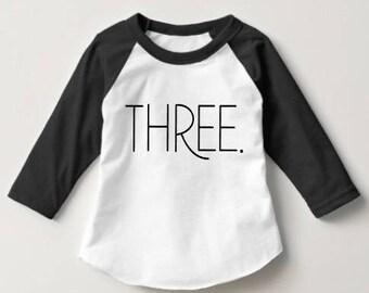Three boys raglan shirt - Baseball Tee  - Three year old - Third birthday shirt - 3/4 Sleeve