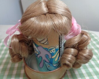 Dark Blond 7 Inch Doll Wig-  Set in Ringlet pigtails- NEW old stock- Vintage doll wig