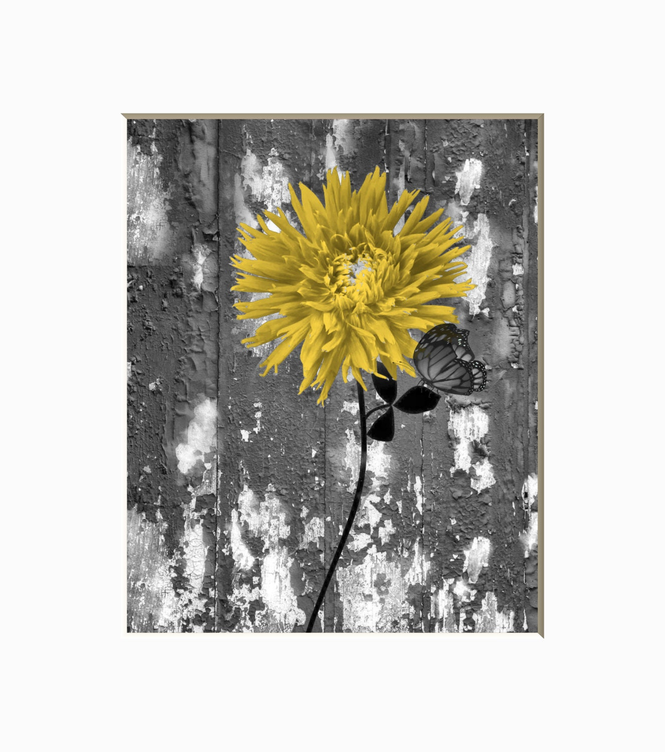 Yellow Gray Rustic Modern Floral Butterfly Wall Art Home Decor