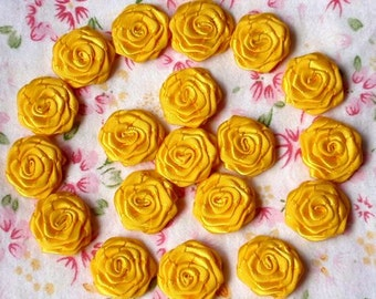 20 Small Handmade Ribbon Roses (3/4 inches) In Yellow Gold And Have Over 150 Colors To Choose MY-024-119  Ready To Ship