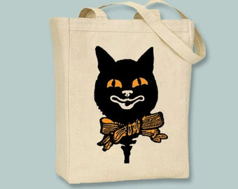 Vintage Black Cat illustration on canvas tote with shoulder strap -- Selection of  sizes available