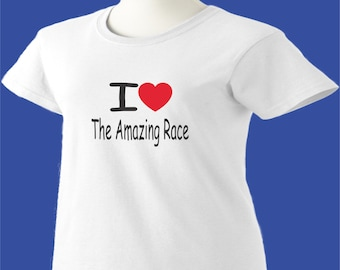 I Love The Amazing Race T-Shirt Heart Womens