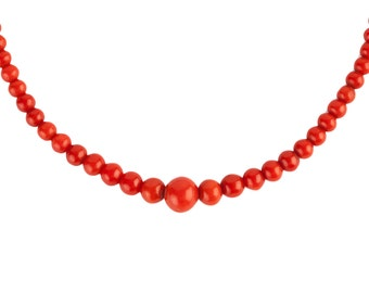 An Antique Sicilian Coral Victorian/Georgian Beaded Necklace.