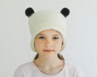 Felt Panda Hat - Hand Felted Wool - Cosplay Ears Wool Hat / Ear Hat / Panda Hat / Minimalistic Felt Hat / Toddler Adult