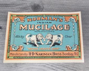 Antique Bulldog Label Victorian Late 1800s  1900 Vintage Advertising Normans Mucilage Glue Dog Dogs original Ephemera