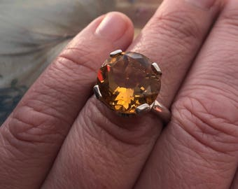 Big Bling Genuine Madaira Citrine Designer Ring