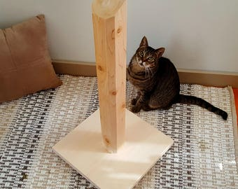 Wood Cat Scratching Post - 30 Inch Cedar Scratching Post