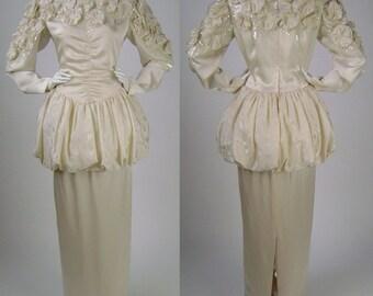 "Vintage 1980s Wedding Dress, Ivory Silk Wedding Dress, Peplum Wedding Dress, Sequinned Wedding Dress, Wedding Maxi Dress, B 40"""