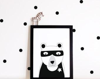 Monochrome Nursery decor, Nursery wall art, Kids decor, kids room poster, nursery art print, superhero bear, monochrome print