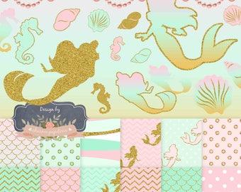 Golden Mermaid Digital Paper + Golden Mermaid Clipart, Aqua, Pink, Pink and Gold Mermaid Digital Papers, Pink, Aqua and Gold Mermaid party
