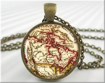 Canada Map Pendant, Resin Charm, Old Canadian Map Jewelry, Picture Necklace, Gift Under 20, Round Bronze, Map Charm, Teacher Gift 423RB