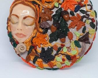 Autumn sleeping Goddess fallen leaves and acorns compact mirror.