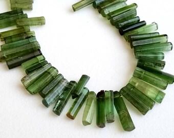 7.5 Inch Rare Green Tourmaline Sticks, 8-17mm Designer Green Tourmaline Rough Sticks, Natural Green Tourmaline Necklace - PUSDG5
