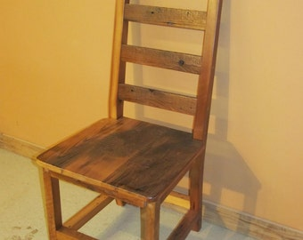 BARNWOOD DINING CHAIR - Barnwood Ladder Back Dining Chair - Reclaimed Wood Chair