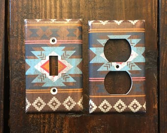 Aztec Light Switch And Outlet Covers | Tribal Nursery - Set of 4 - Tribal Wall Art - Wood Grain - Indian Inspired - Southwestern Home Decor
