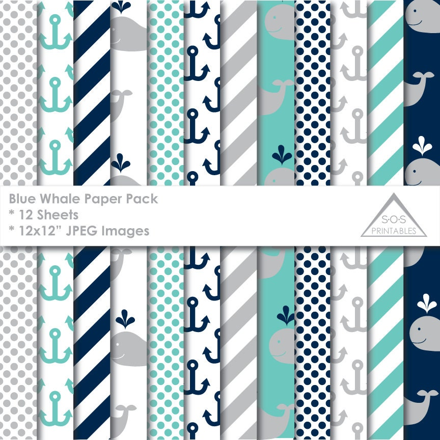 Whale Paper Blue Whale Paper Pack Nautical Paper Digital