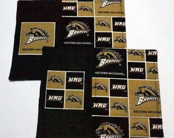 Two Western Michigan University Snack Mats or Mug Rugs for Corm, Office, Home office, Dining, Coffee or End Table