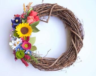 Handmade Felt Floral Grapevine Wreath // Sunflowers Pansies Daisies Aster Succulents Tulips Lilacs // Farmhouse Decor / Summer Wreath