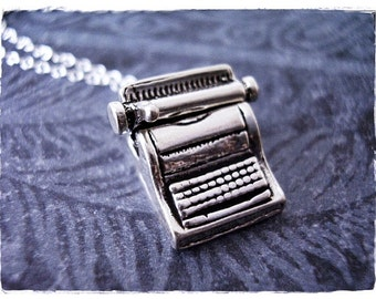 Silver Movable Typewriter Necklace - Sterling Silver Typewriter Charm on a Delicate Sterling Silver Cable Chain or Charm Only