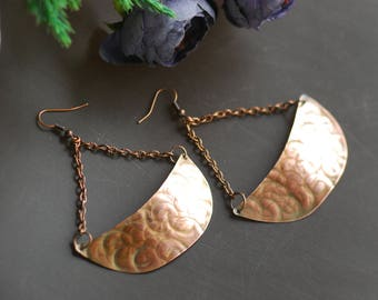 Statement Hammered Copper Earrings Oxidized Copper Organic Copper Earrings Rustic Hammered Copper Earrings Artisan Earrings Steam punk