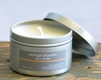Orange Blossom Soy Candle Tin 8 oz. - floral soy candle - orange blossom scent - spring soy candle - summer soy candle