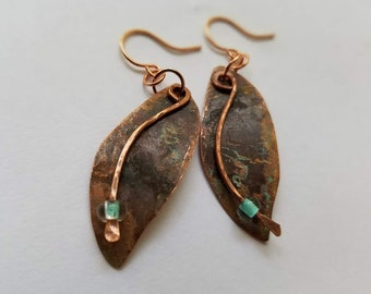 OOAK copper leaf shaped upcycled earrings with patina and aqua beads