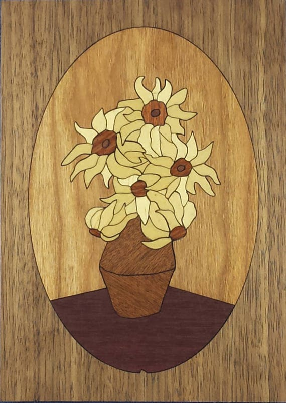 """Marquetry Project Kit - 5"""" x 7"""" Sunflowers"""