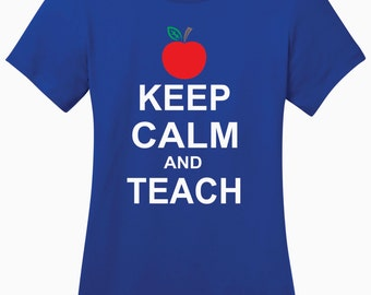 Red Apple Keep Calm and Teach Ladies Perfect Weight Crew Tee