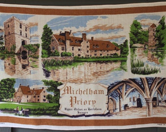 Vintage Irish Linen Michelham Priory Tea Towel