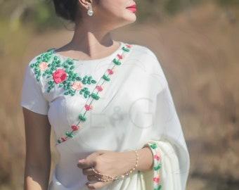 Creamery Pure Silk-Chiffon Ribbon Embroidered Saree