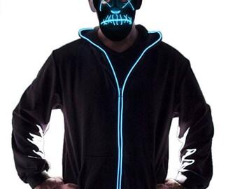 Light Up Hoodie, Glow In The Dark Clubwear, Nightlife, Festival Outfit Halloween Gift For Him / Glow Hoodie / Neon Zip Up Hoodie Sweatshirt