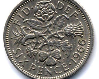 Sixpence Coin for the Brides Shoe 1966
