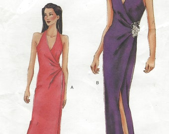 Womens Sexy Halter Wrap Evening Gown in 2 Lengths Cocktail Length or Evening OOP Vogue Sewing Pattern 7277 Size 12 14 16 Bust 34 36 38