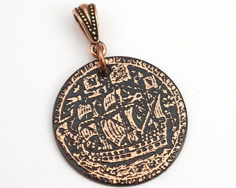 Copper sailing ship pendant, round flat antiqued metal sea vessel jewelry, optional necklace, 28mm