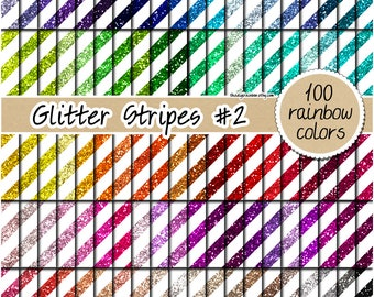 SALE 100 Glitter stripes digital paper rainbow glitter digital paper glitter stripe background glitter printable gold stripes commercial use