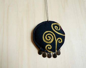Hand painted textile necklace >> Tree of life patterns >> Gustav Klimt >> Ready to ship