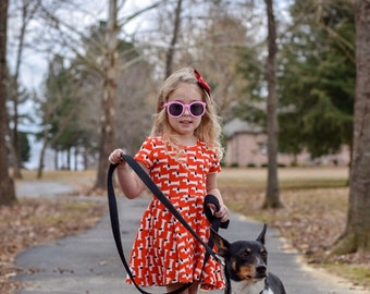 Girls dress with dogs - girls twirl dress - girls organic cotton clothes - toddler outfit with dogs - girls dog dress