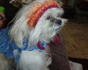 NEW - Hippie Chic Headband 60s Pet Hat - 2 to 20 lb dog or cat