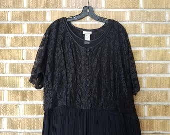 90s plus size, sheer lace, goth, maxi dress -xxl-