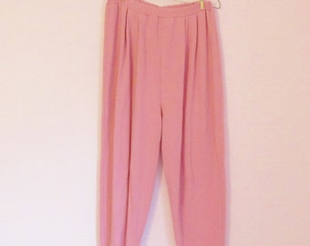 Vintage 80s Bubblegum Pink Stirrup Pants/Leggings - Size L/XL