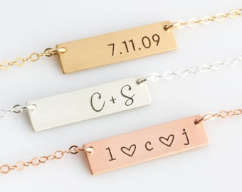 Personalized Bar Necklace, Custom Necklace,Name Necklace,Gift for Mom,Gold Fill,Silver, Rose Gold, Engraved Necklace, Layering Necklace