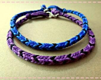 Handmade Blue Purple & Black Friendship Bracelet Couple Bracelets Set of 2