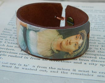 Jane Austen Bracelet Leather Cuff Small, Medium and Large
