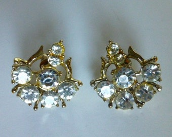 Vintage Coro Rhinestone Earrings 1950s
