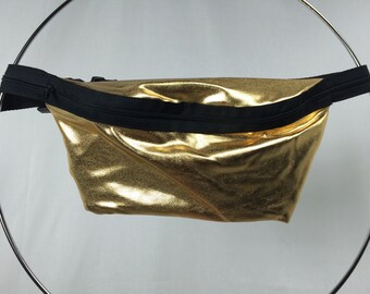 Gold Metallic Fanny Pack / Fun Hip Bag / Adjustable Strap Handmade by GAG THREADS