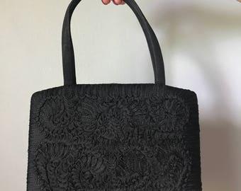 Vintage 50s Black Woven Clasp Purse