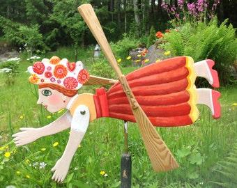 Artisan Wooden Whirligig Flying Happy Girl