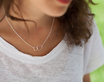 Two Entwined Tiny Circles necklace in Sterling Silver or Gold Fill