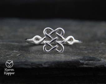 Celtic Knot ring, sterling silver 0.925 (1.2mm), lovers knot, endless knot, love ring, friendship ring, engagement ring, made at your size
