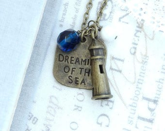 Lighthouse Pendant Necklace Blue Sea Necklace Lighthouse Jewelry Ocean Necklace Lighthouse Gift